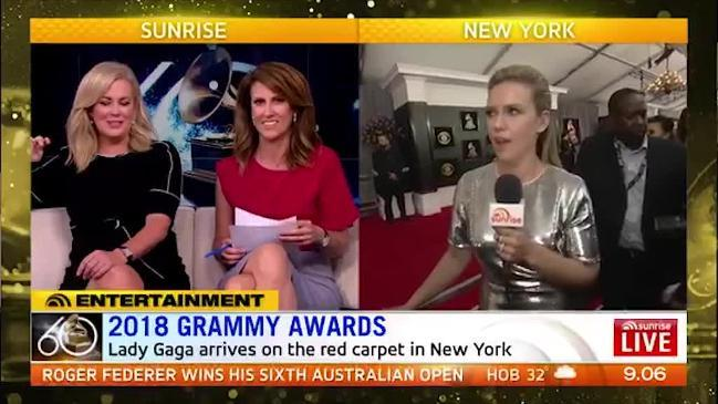 Sunrise host in hysterics at Eddie's Grammys coverage