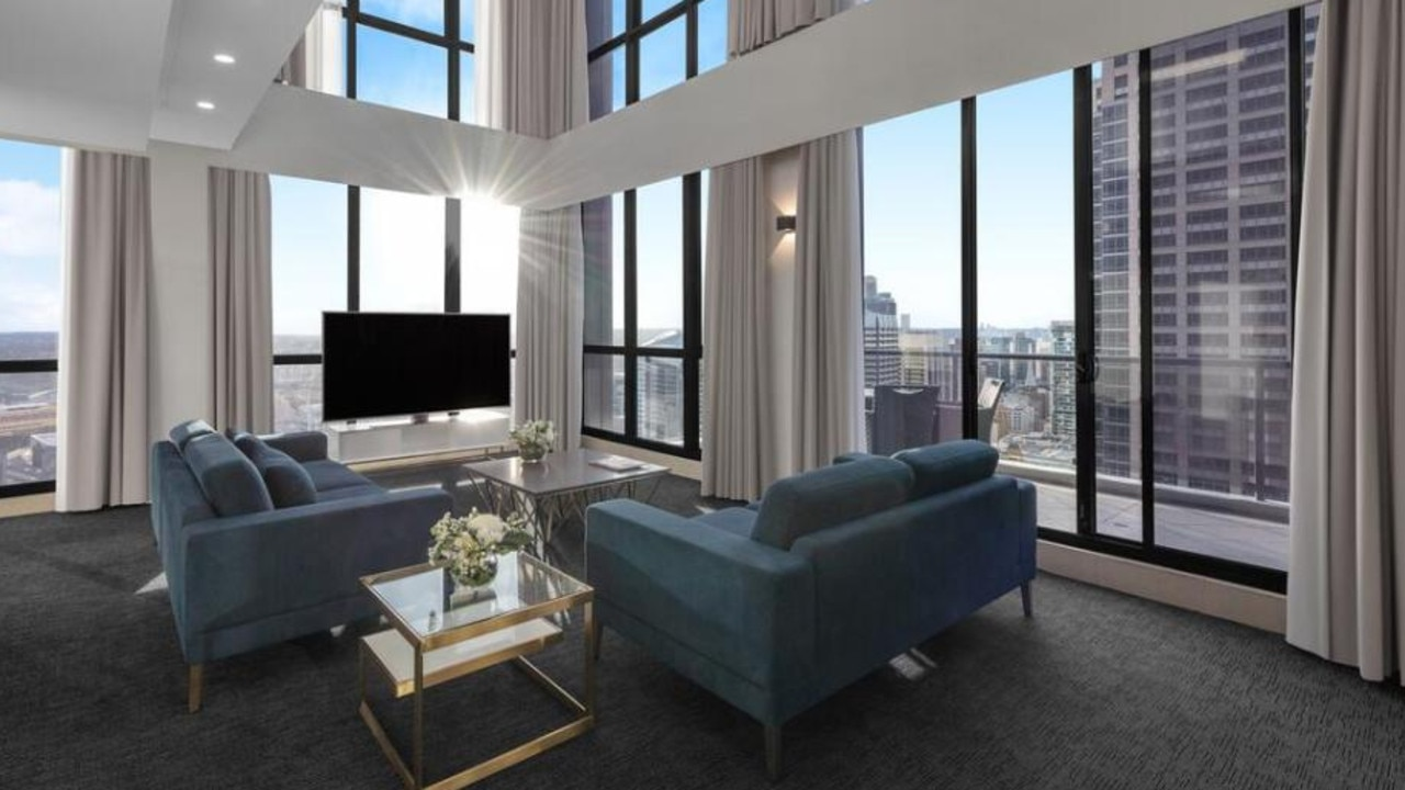 The suite boasts beautiful views of Sydney.
