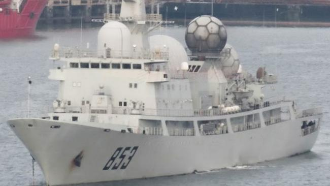 A People's Liberation Army Navy (PLAN) Auxiliary General Intelligence vessel (AGI) of the Type 815 Dongdiao-class, similar to the one currently off the coast of Queensland.