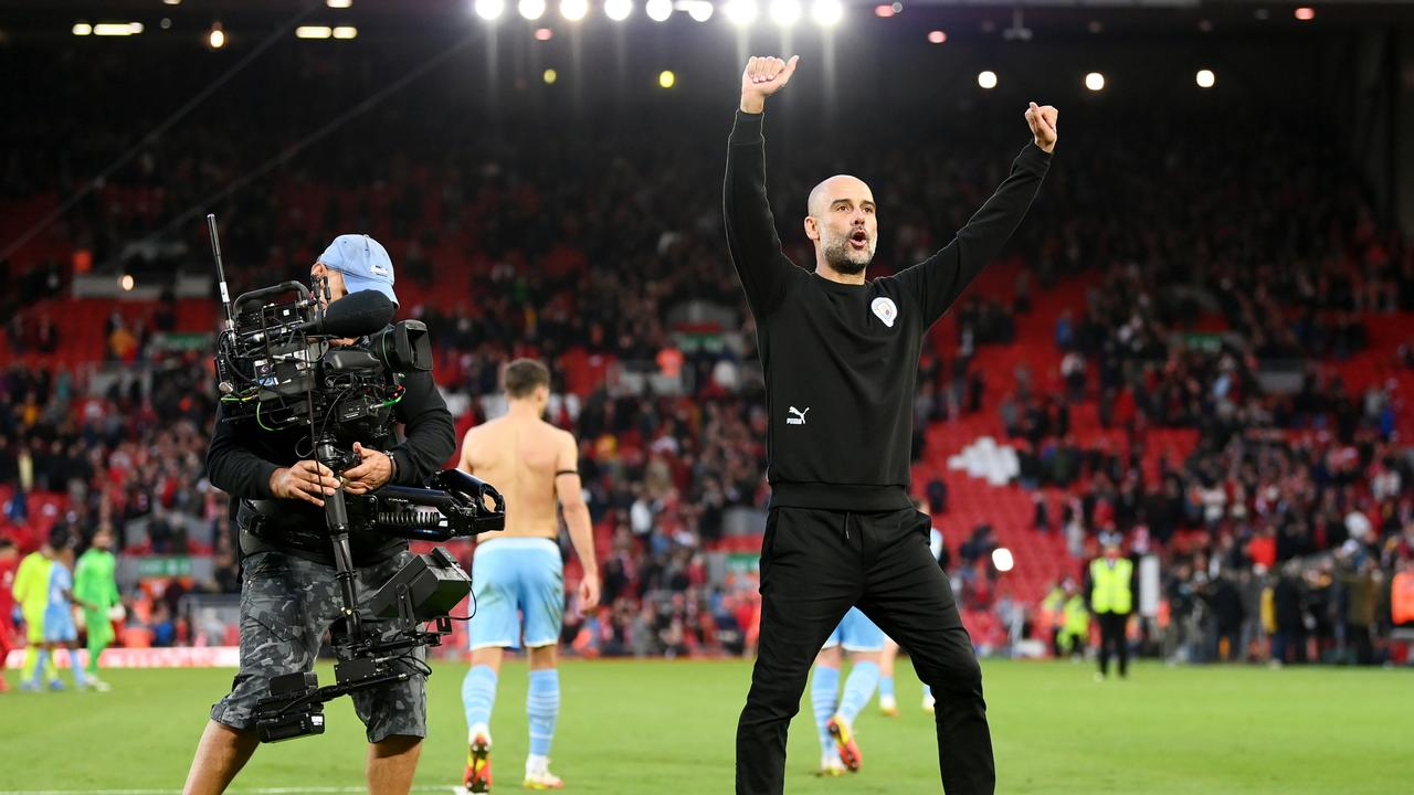 Manchester City manager Pep Guardiola acknowledges the crowd after his side's draw with Liverpool at Anfield. Photo: Getty Images