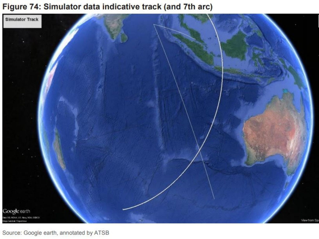 The two lines meet at the seventh arc, the spot where investigators believe MH370 likely entered the southern Indian Ocean off Western Australia. Picture: Google earth, annotated by ATSB