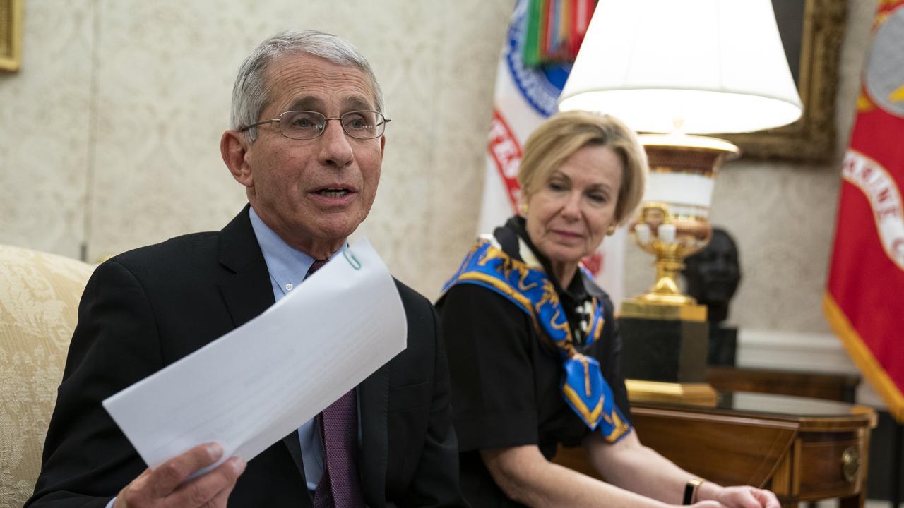 Dr Fauci with White House coronavirus response co-ordinator Dr. Deborah Birx. Picture: Evan Vucci/AP