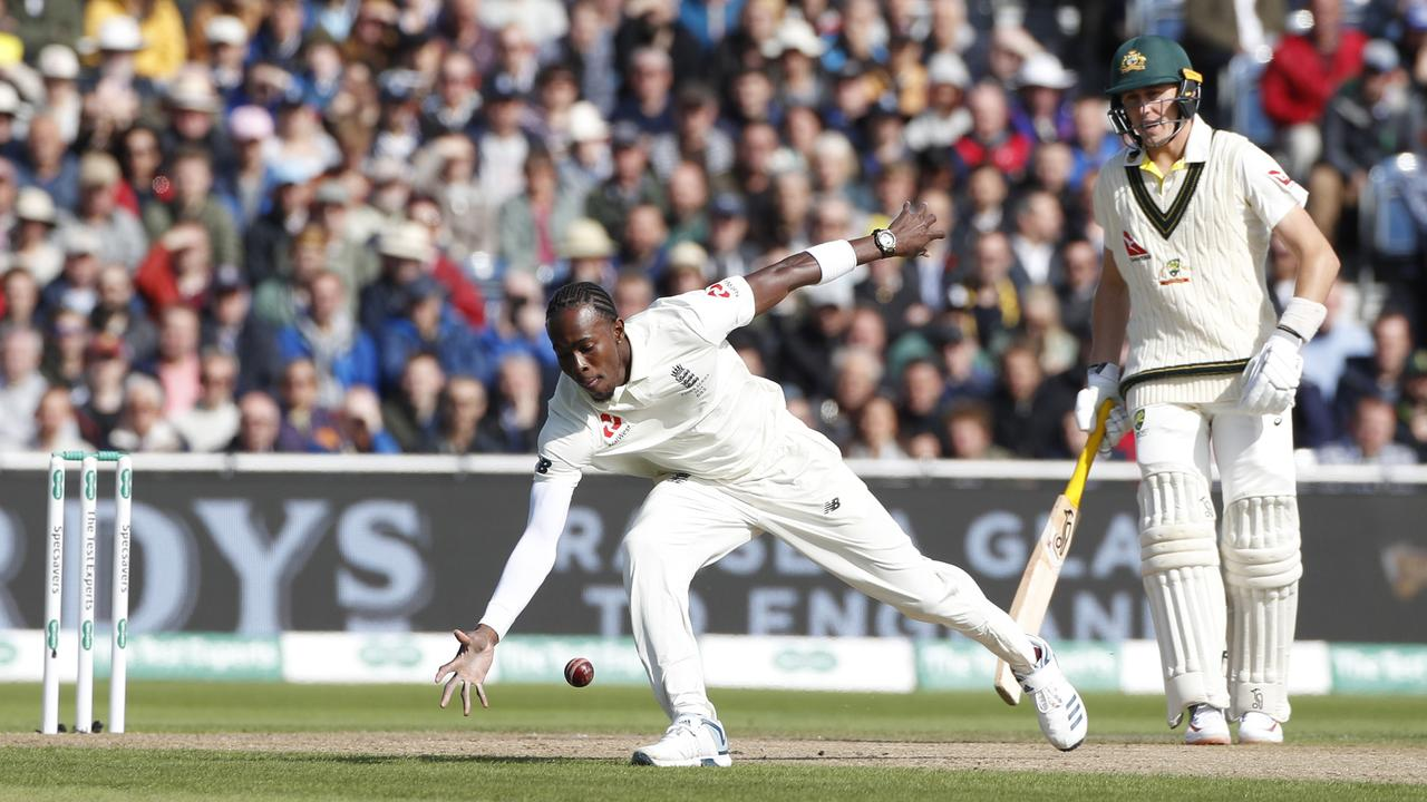 England's Jofra Archer fields during day one of the fourth Ashes Test at Old Trafford.