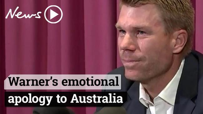 David Warner gives emotional apology to Australia