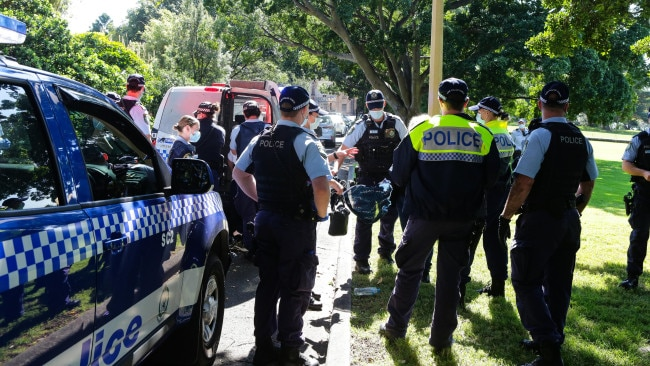 Police are seen at Govt House in Sydney during one of the protests across the state on Tuesday. Picture: NCA NewsWire/ Gaye Gerard
