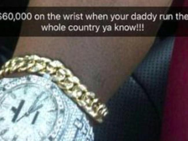 Robert Mugabe Jr reveals the cost of this watch. Picture: Instagram
