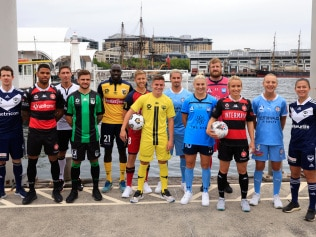 A-League & W-League players in Darling Harbour today to launch the seasons