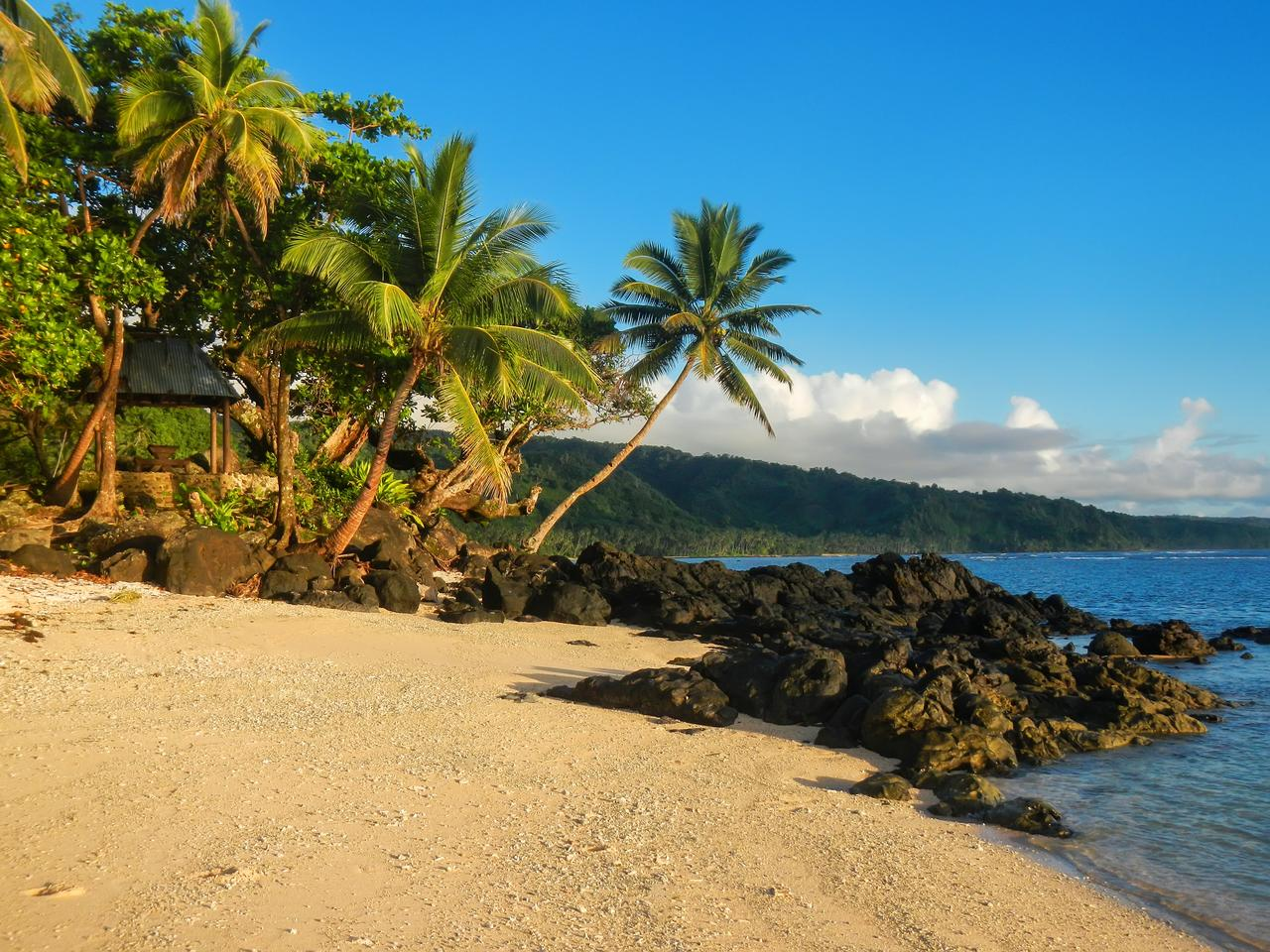 Sandy beach in Lavena village on Taveuni Island, Fiji. Taveuni is the third largest island in Fiji.