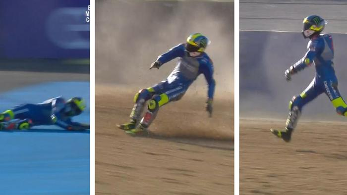 Joan Mir literally walked off his crash.