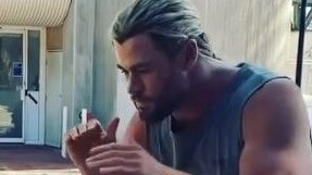 Chris Hemsworth boxes with his daughter India Rose. Picture: Instagram