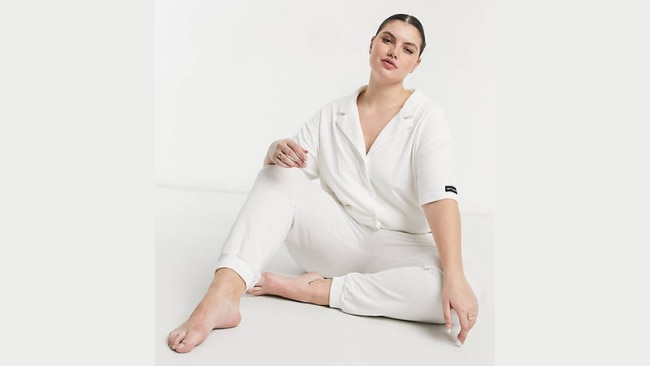 Public Desire, Curve towelling pyjama shirt co-ord in off-white