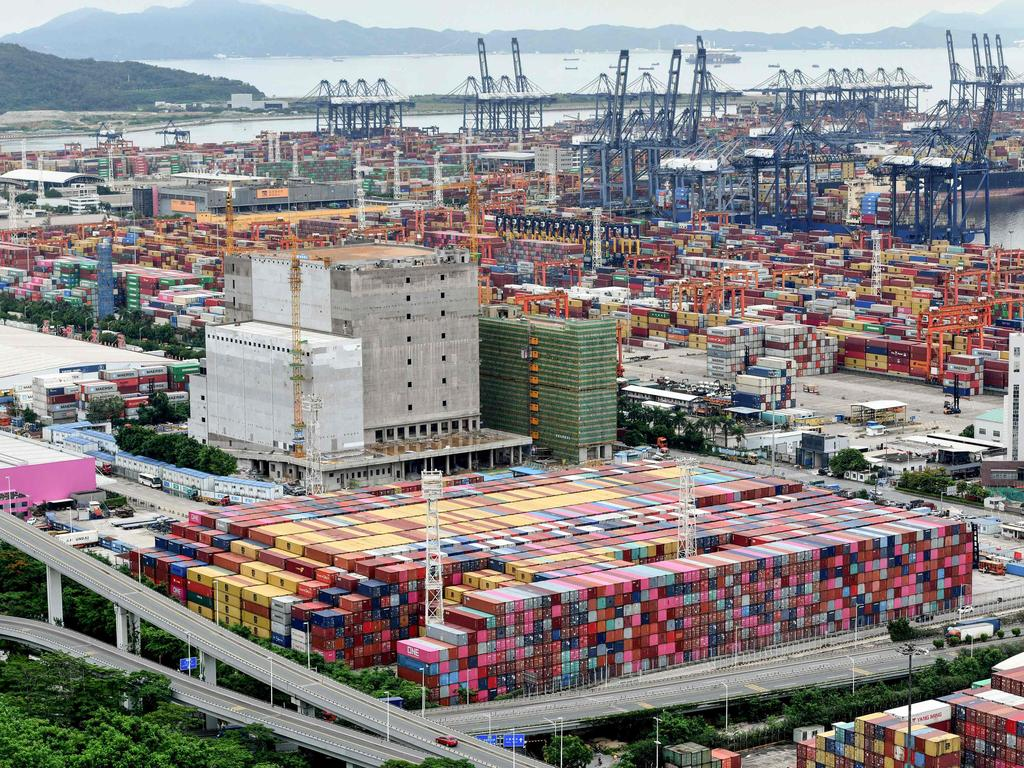 Cargo containers stacked at Yantian port in Shenzhen in China's southern Guangdong province on June 22. Picture: STR / AFP.