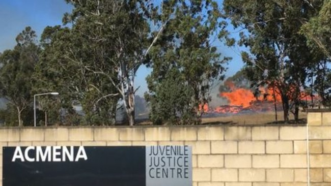 Debris well alight on a Swallow Rd, South Grafton property adjacent to Acmena Juvenile Justice Centre at 1.20pm on Sunday, 19th August, 2018. Picture: Bill North