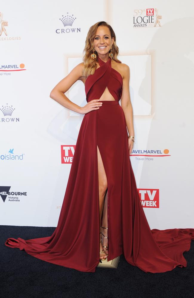 Carrie Bickmore arrives at the 2017 Logie Awards. Picture: AAP