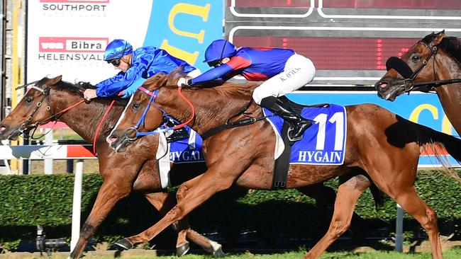 It's Somewhat, for jockey Tye Angland and assistant trainer Darren Beadman, takes out the Hollindale Stakes at the Gold Coast. Picture: Grant Peters, Trackside Photography
