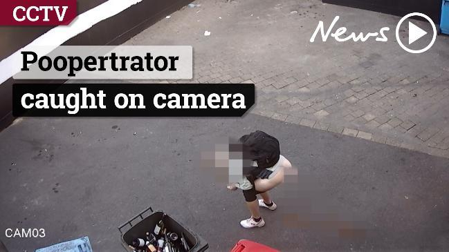 Woman caught on CCTV doing a poo in Pyrmont