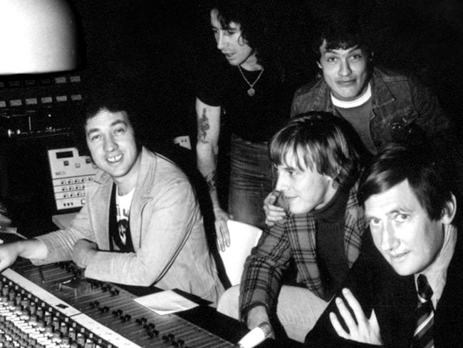 Bon Scott, Angus Young, George Young, Harry Vanda and Ted Albert in Albert Studios. Picture: Supplied.
