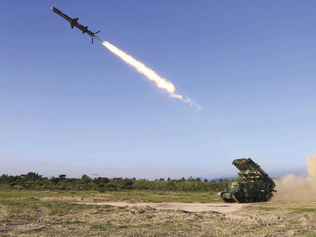North Korea tests a new type of cruise missile at an undisclosed location. Picture: Korean Central News Agency/Korea News Service via AP