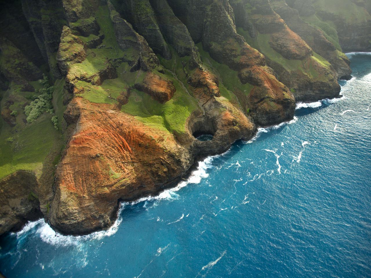 Otherworldly landscape of Hawaii's Na Pali Coastline on the island of Kauai.