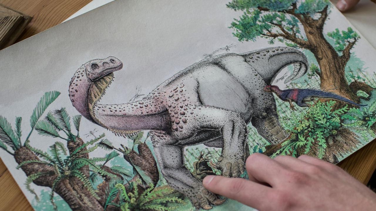 An illustration of the dinosaur named Ledumahadi Mafube. Picture: AFP