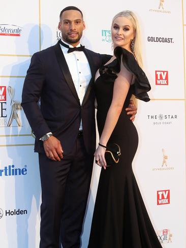 Josh Gibson and Simone Holtznagel arrive at the 2018 Logie Awards on the Gold Coast. Picture: Mega