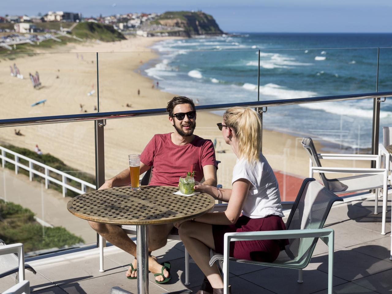 Enjoy a drink with a view at the Surfhouse Restaurant, Merewether Surfhouse.