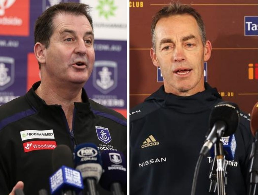 Ross Lyon and Alastair Clarkson. Photo: Getty.