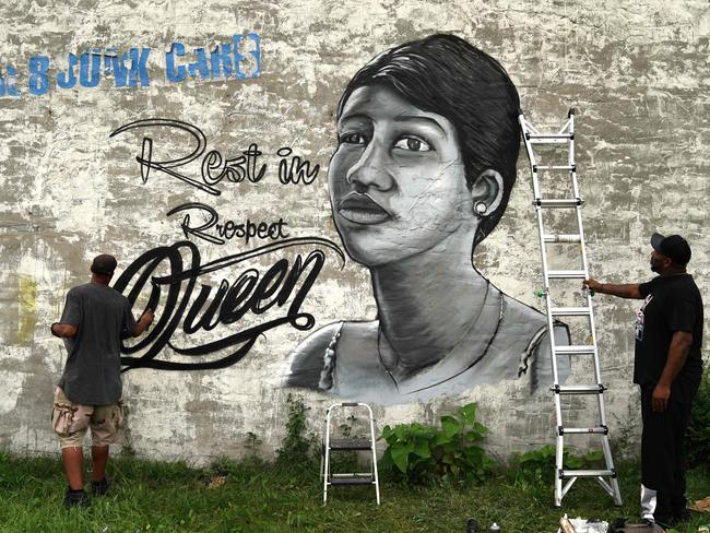 A mural of Aretha Franklin on a wall in Detroit, Michigan. Picture: Timothy A. Clary/AFP