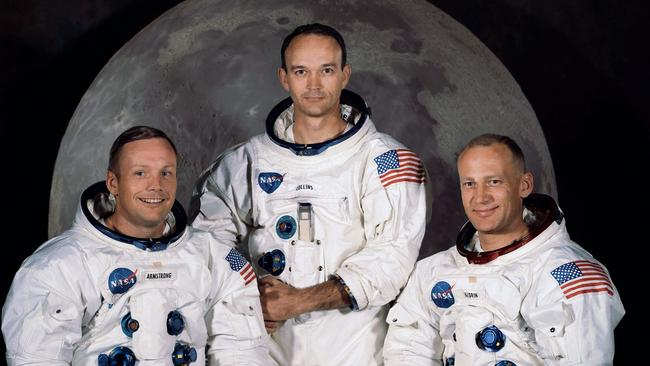 """AUS50TH 1969: WIRE: FILE - In this 1969 photo provided by NASA the crew of the Apollo 11 mission is seen. From left are Neil Armstrong, Mission Commander, Michael Collins, Lt. Col. USAF, and Edwin Eugene Aldrin, also known as Buzz Aldrin, USAF Lunar Module pilot. The family of Neil Armstrong, the first man to walk on the moon, says he died Saturday, Aug. 25, 2012, at age 82. A statement from the family says he died following complications resulting from cardiovascular procedures. It doesn't say where he died. Armstrong commanded the Apollo 11 spacecraft that landed on the moon July 20, 1969. He radioed back to Earth the historic news of """"one giant leap for mankind."""" Armstrong and fellow astronaut Edwin """"Buzz"""" Aldrin spent nearly three hours walking on the moon, collecting samples, conducting experiments and taking photographs. In all, 12 Americans walked on the moon from 1969 to 1972. (AP Photo/NASA, File) Picture: Supplied"""