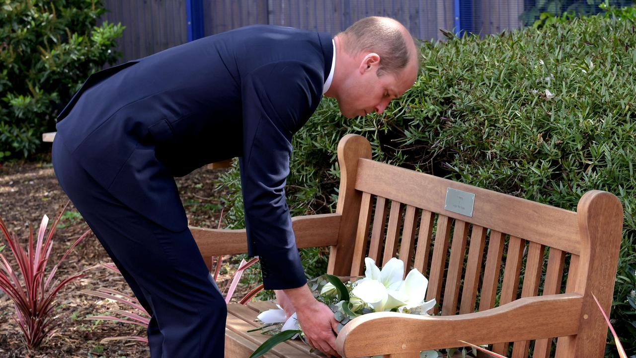 Prince William lays a wreath on the bench dedicated to Sergeant Ratana who was shot and killed while on duty. Picture: Jonathan Buckmaster/WPA Pool/Getty Images.