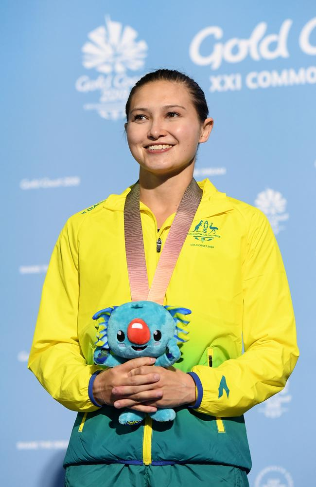 Melissa Wu after capturing gold in the 10m diving final.