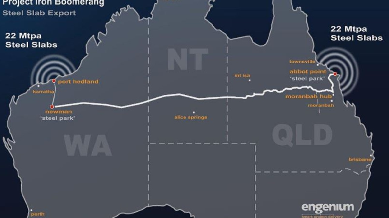 The East West Line, approximately 3300km long, would link iron ore resources of the Pilbara Western Australia to coal resources in Queensland's Bowen Basin