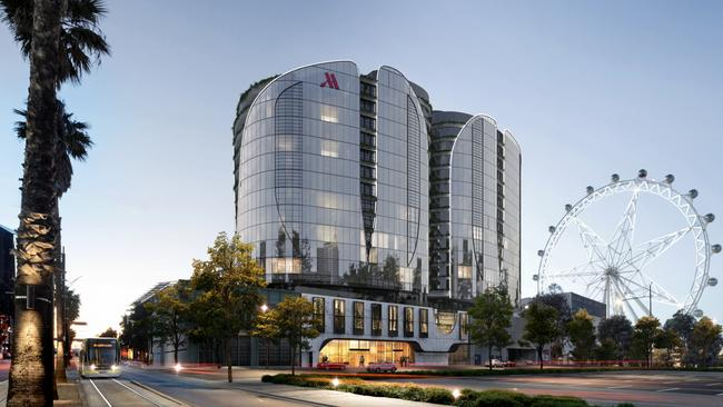 The hotel and apartment development will feature a series of connected towers.