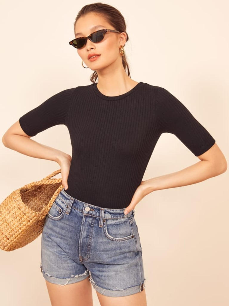 Reformation Janine Ribbed Short Sleeve Top
