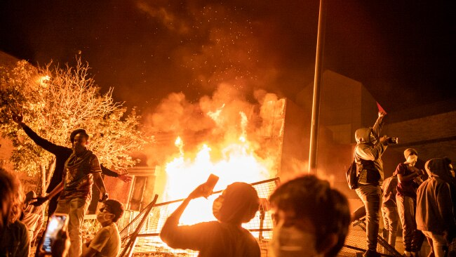 Minneapolis, MN May 28: The Minneapolis 3rd Police Precinct set on fire by protesters during the George Floyd riots in May 2020. Picture: Getty