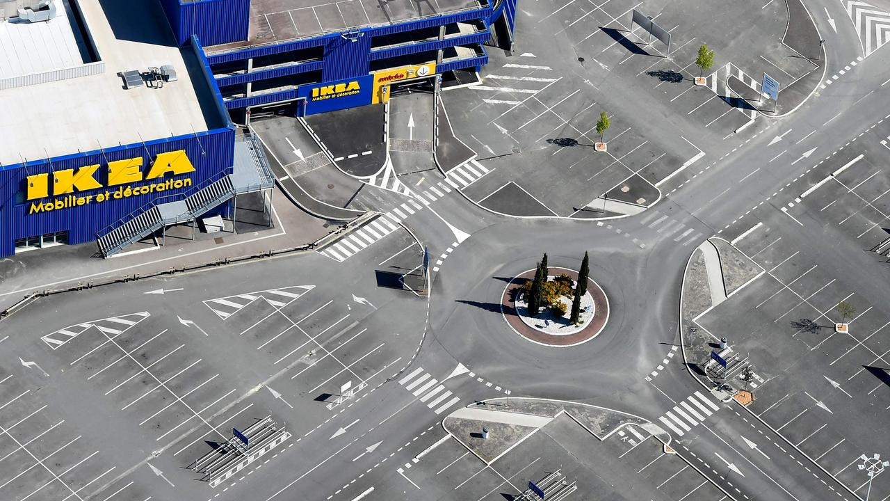 A deserted Ikea in Bordeaux, France, after the chain was forced to close as part of the country's tough COVID-19 restrictions. Picture: Nicolas tucat/AFP