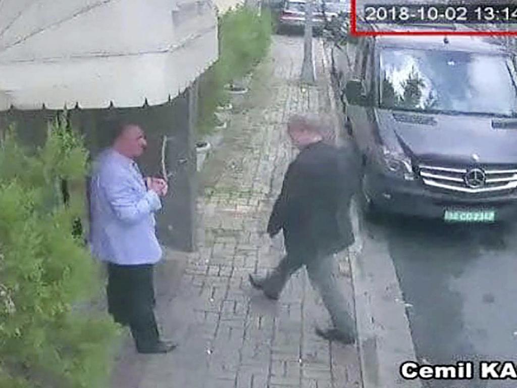 FJamal Khashoggi was last seen entering the Saudi Arabian consulate in Istanbul on October 2. Picture: AP