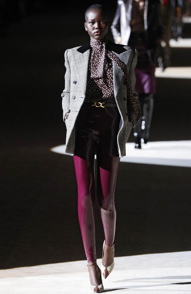 Sudanese-Australian model Adut Akech was a standout on the Saint Laurent runway. Picture: Getty Images