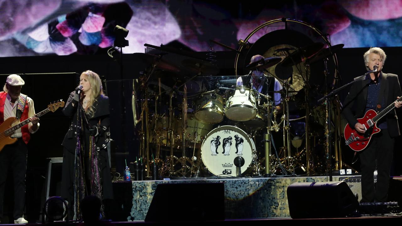 Fleetwood Mac in Sydney last night (l-r): John McVie, Stevie Nicks, Mick Fleetwood and Neil Finn. Picture: Christian Gilles