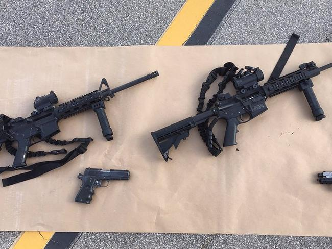 Weapons of war ... The rifles used by the killers in the mass shooting.