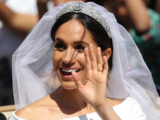 A royal wave from the Duchess of Sussex. Picture: Getty Images