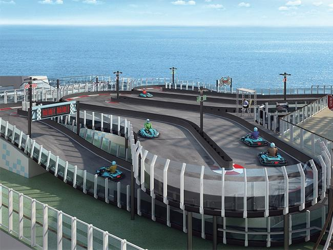 RACETRACK, NORWEGIAN JOY: For some people, cruise holidays are all about slowing down and relaxing. For others, there's Norwegian Joy. This amazing ship is filled with action activities, the centrepiece being the world's first racetrack at sea. The Ferrari-branded track spans two decks, allowing up to 10 electric go-kart drivers to speed around the circuit at once, at up to 60km/h. The ship, which debuted last month, is said to be the most innovative of the Norwegian Cruise Line fleet. When you're not karting, you can take your pick from an open-air laser tag course, a games area dedicated to simulator rides with interactive video walls, and two multistorey waterslides. The ship has been designed to cater to the growing Chinese cruising market with home ports in Shanghai and Tianjin. ncl.com