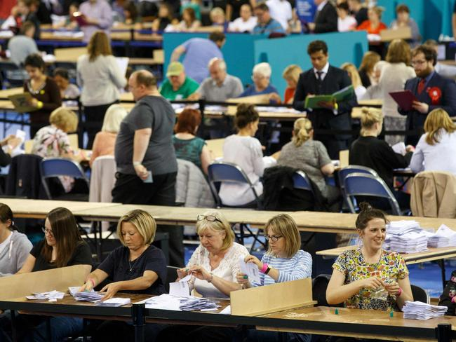 Ballots are counted at the Glasgow count centre at the Emirates Arena. Picture: Robert Perry