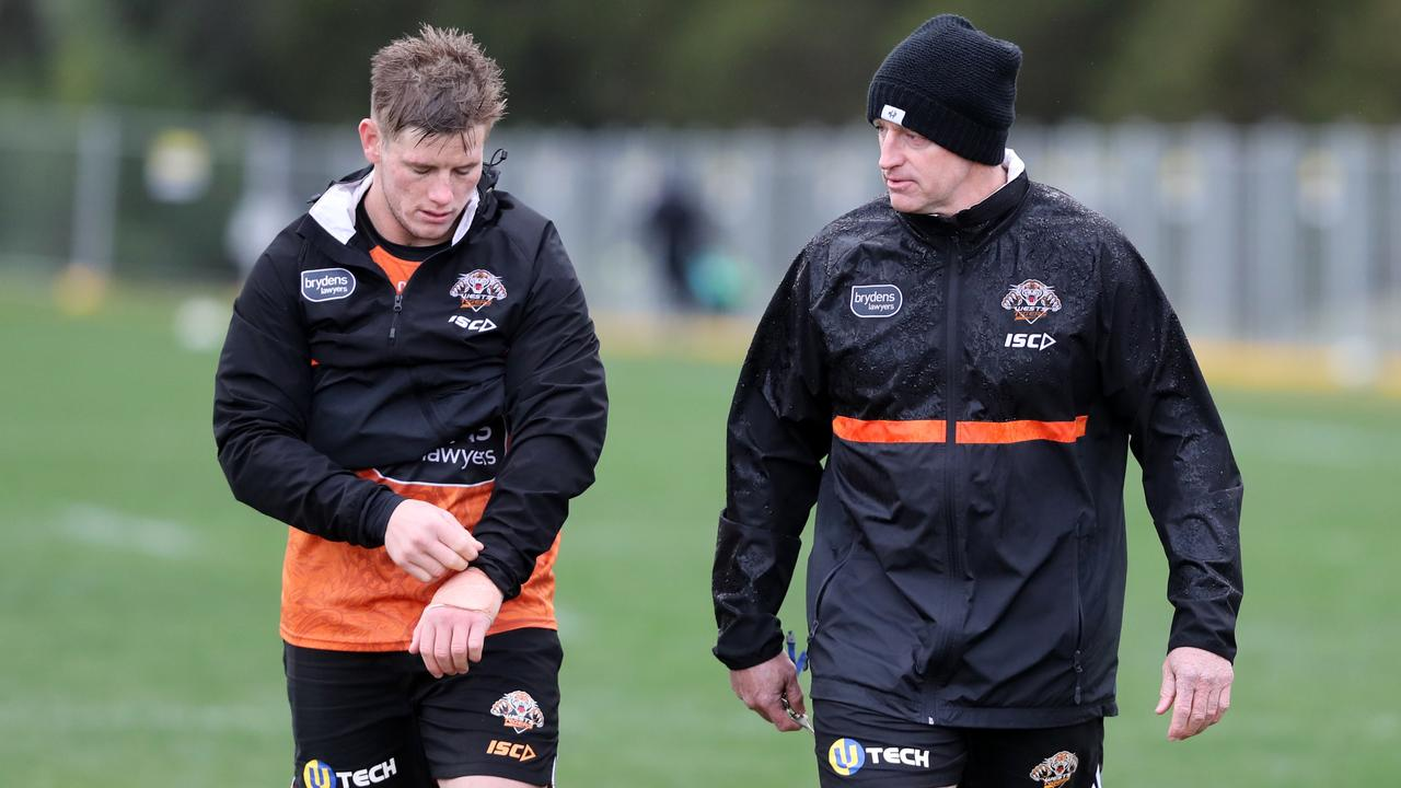 Wests Tigers hooker Harry Grant and coach Michael Maguire.
