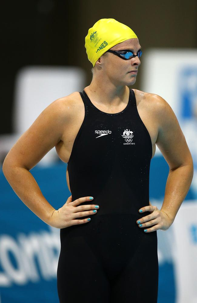 Leisel Jones photographed just before diving into the water at the 2012 London Olympic Games. Photo: Al Bello.
