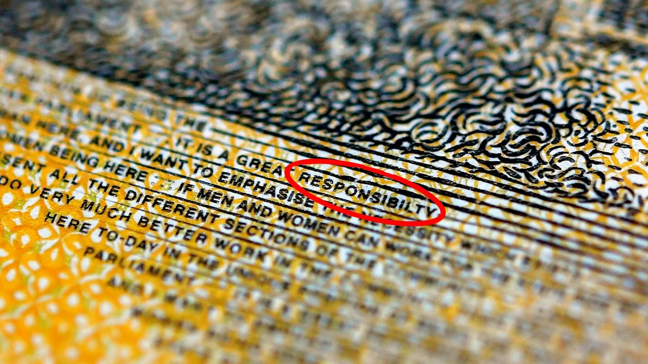 """A current $50 note printed with the word """"responsibility"""" spelt incorrectly in Sydney. Picture: AAP"""