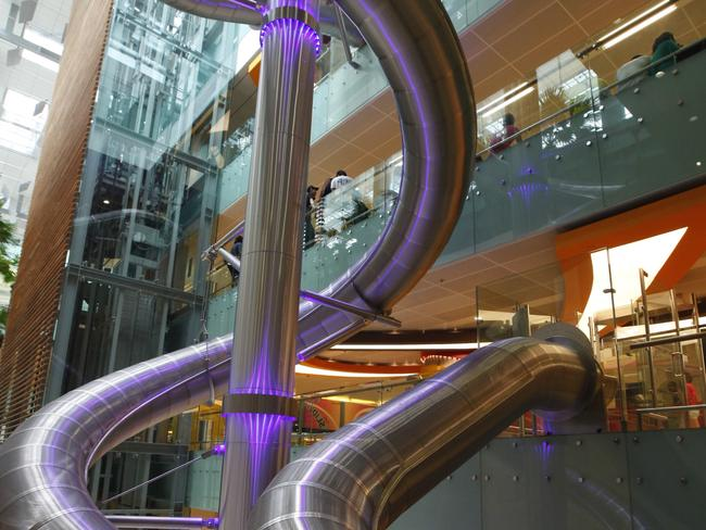 SLIP DOWN THE WORLD'S TALLEST SLIDE Thrill seekers can whiz down the curvy slide at speeds of up to 6m per second, in Terminal 3, level 1. Rides can be redeemed with every $S10 spent at Changi Airport. Picture: Changi Airport Group