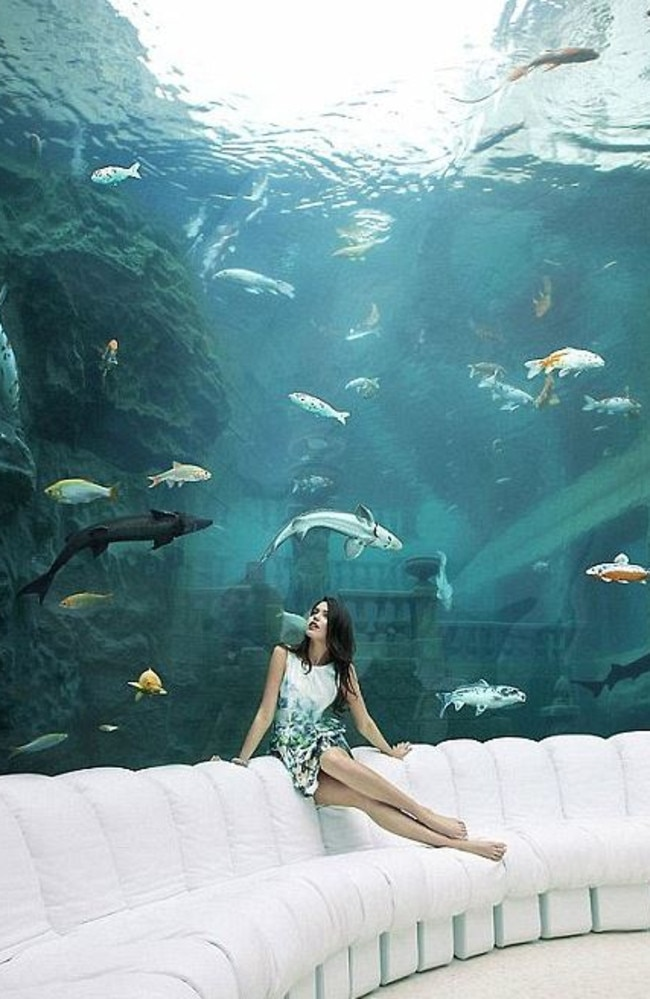 The underwater room in the Chateau Louis XIV.