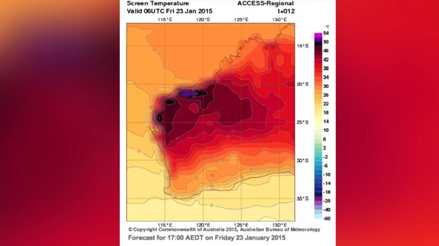 Temperatures in WA tipped to hit 50C - Forecast loop