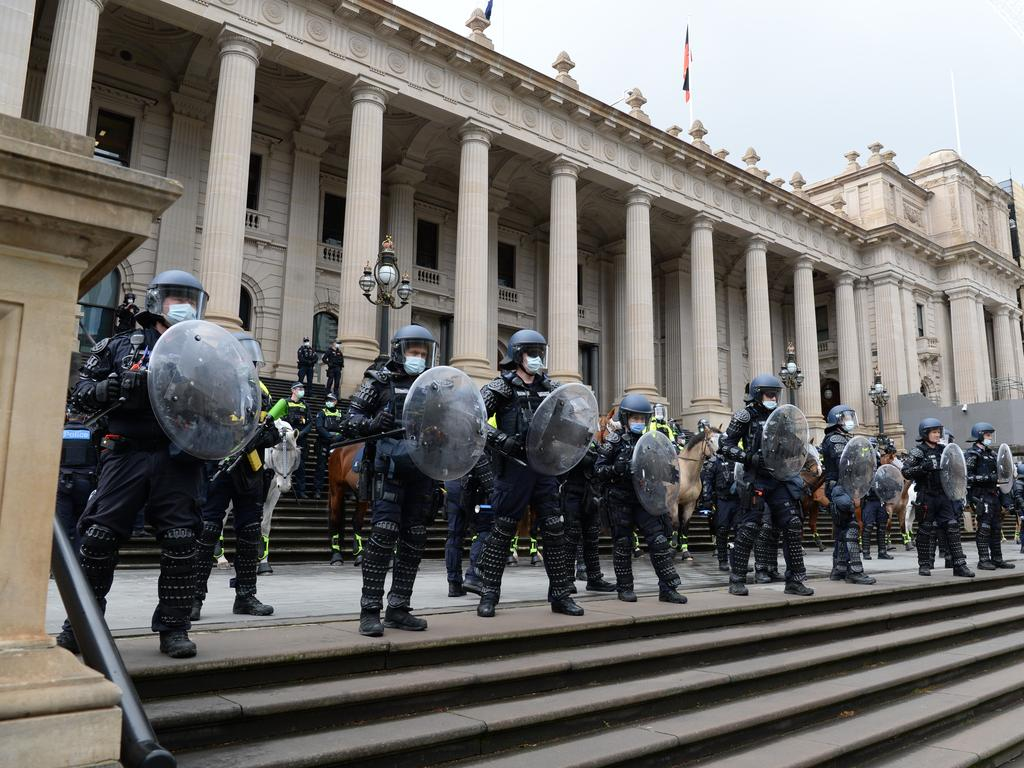 Victoria Police have warned police will be out in force as protesters threaten to take to the streets again on Wednesday. Picture: NCA NewsWire / Andrew Henshaw
